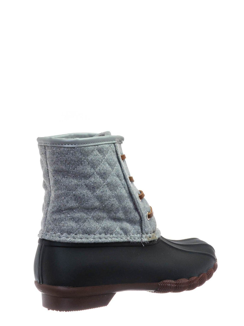 Gray / Leo2 Waterproof Lace Up Boots - Quilted Felt Lining Ankle Height Bootie