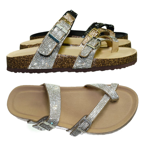 Berk03 Silver Pu Rhinestone Molded Footbed Sandal - Women Crystal Slide In Contour Insole