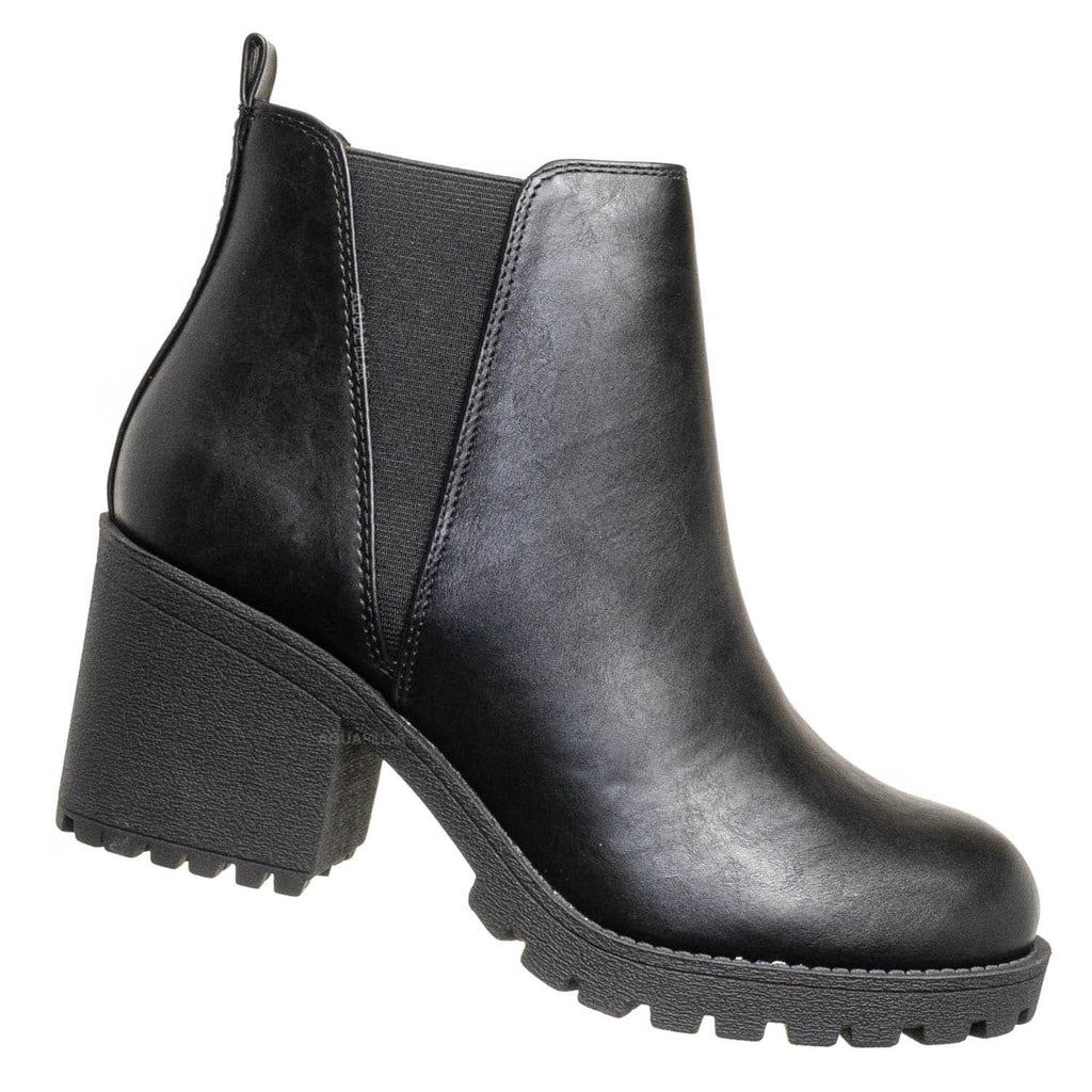 Black Pu / Origami Chunky Lug Sole Chelsea Boots - Pull On Stretched V Side Panel Bootie