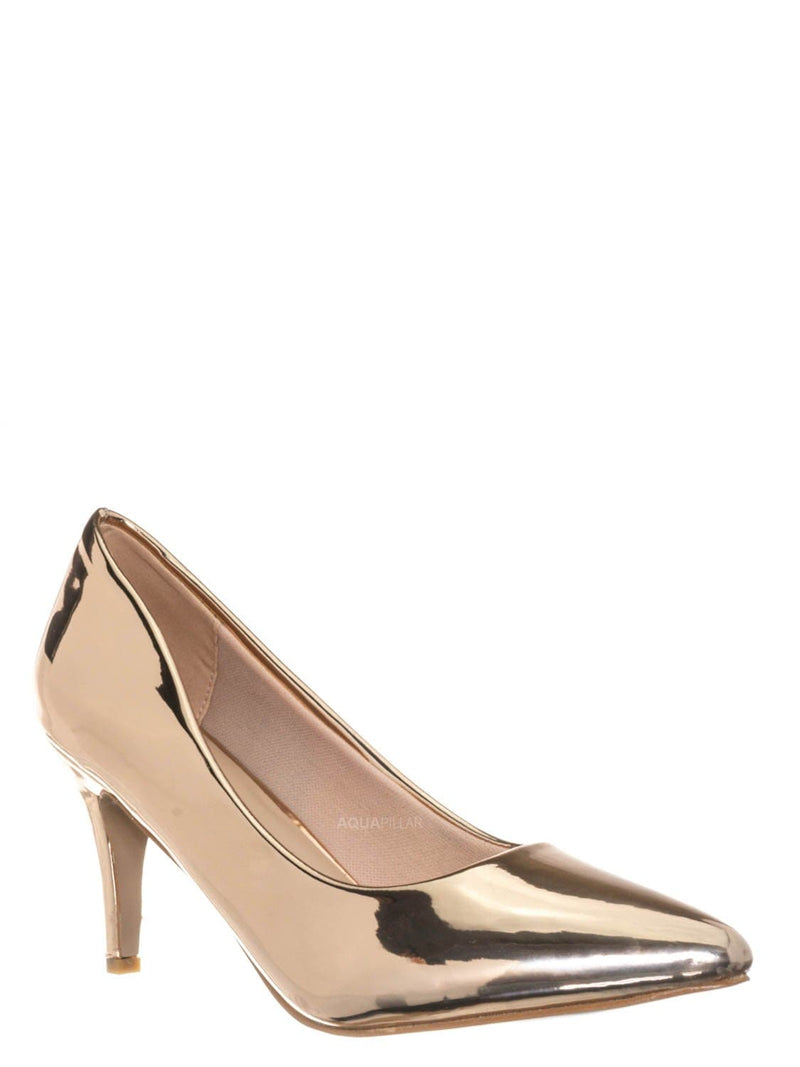 Rose Gold / Sanzi2 Low Stiletto Heel Pumps - Slip On Dress Shoes Solid Or Animal Prints