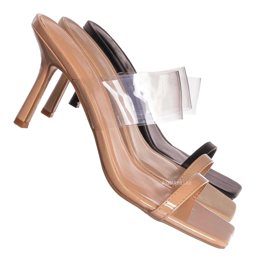 Nud Beige Patent / Zeal03 Clear Lucite High Heel Mule, Women Transparent Sandal