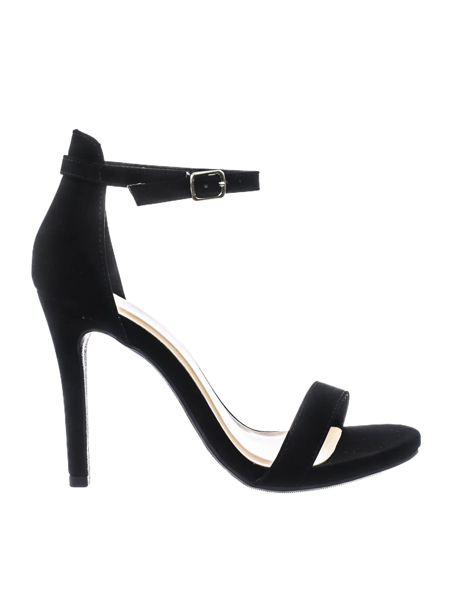 Tyrell Black Classic Womens Open Toe High Heel Dress Sandal w Adjustable Ankle Strap
