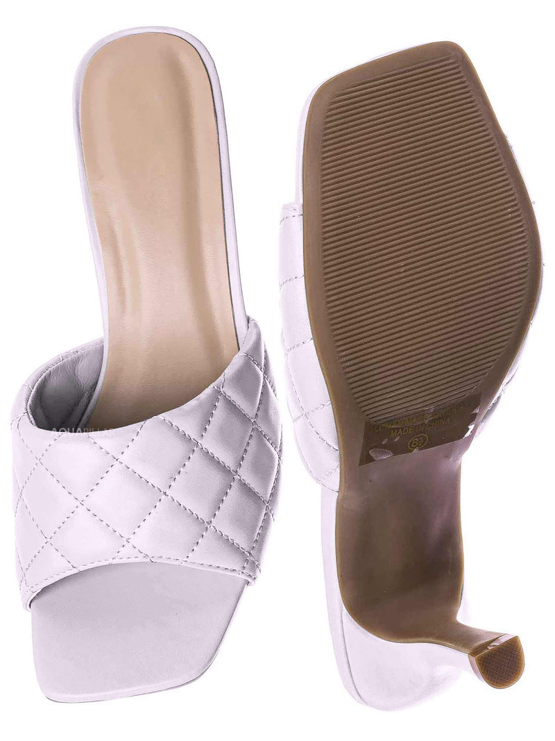 White / Bora66 High Quilted Mule - Womens Slide In Diamon Puffy Slipper
