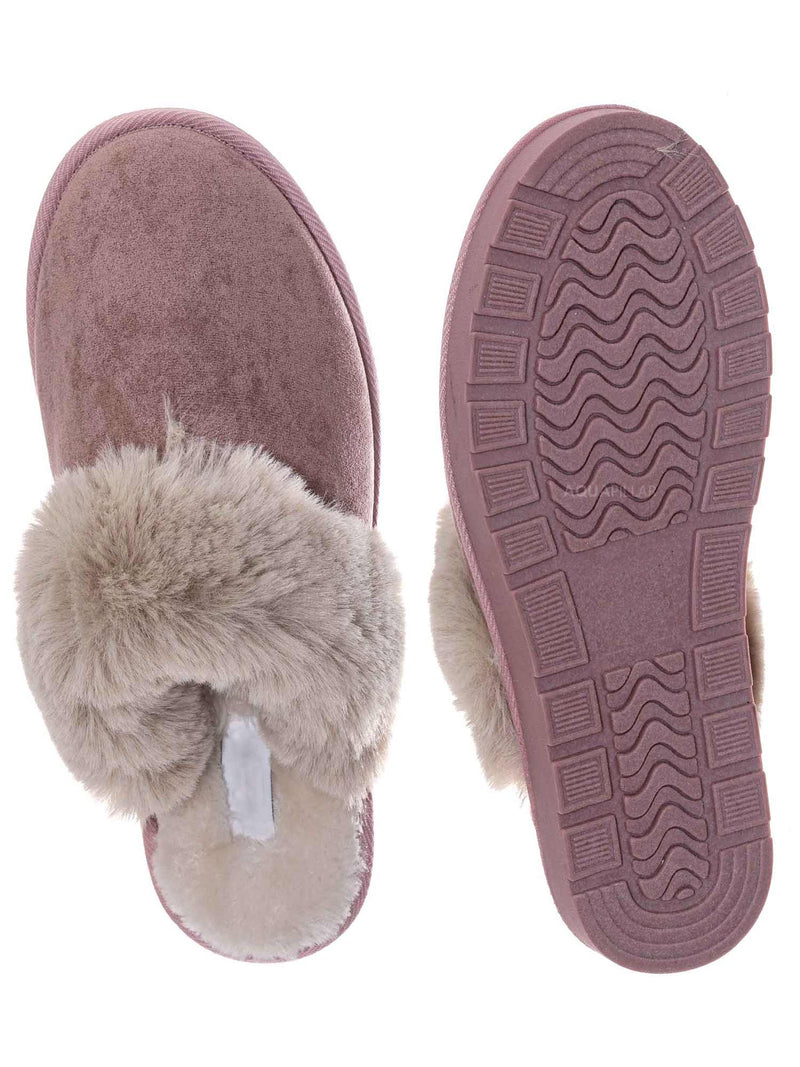 Blush Pink / Snuggle01 Winter Cozy House Slipper - Vegan Friendly Faux Fur Slip On Mule