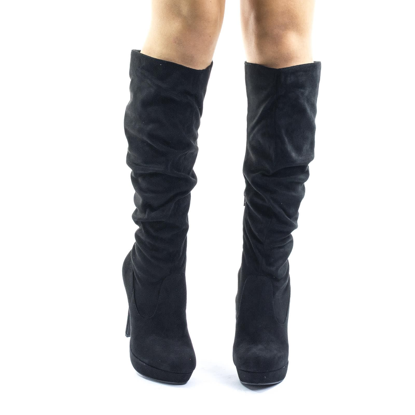 Partial Over Knee High Heel Slouch Boots, High Heel Platform Pump