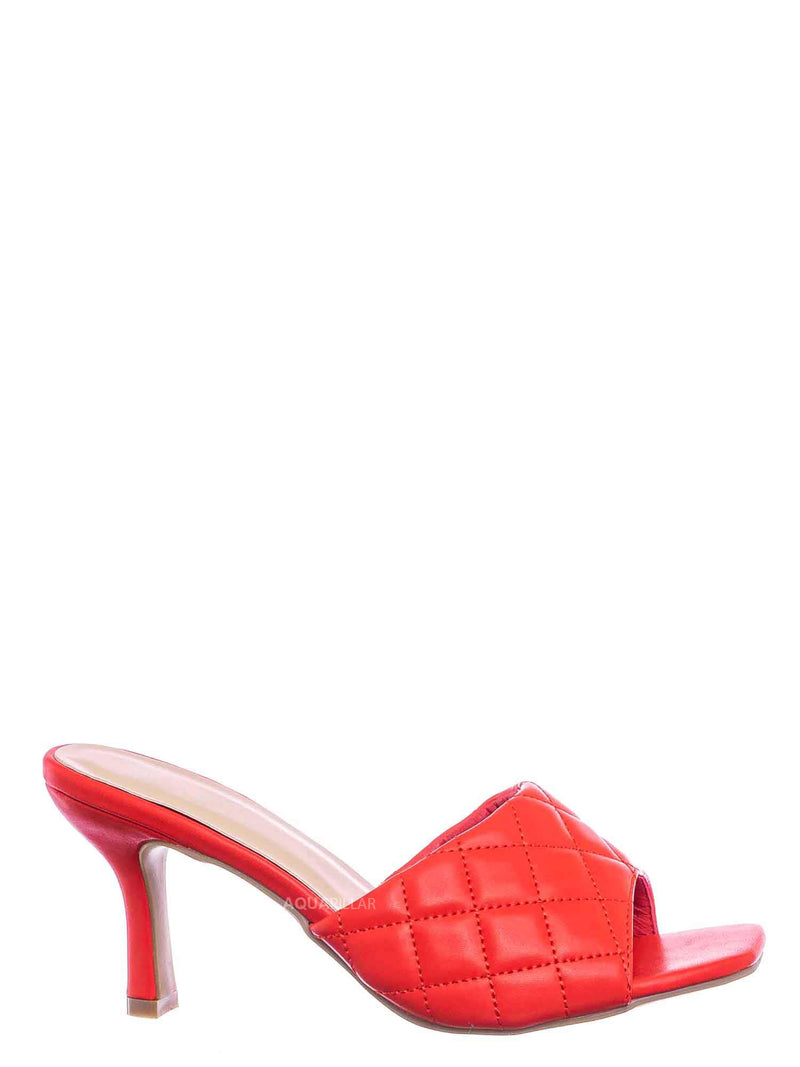 Red / Bora66 High Quilted Mule - Womens Slide In Diamon Puffy Slipper