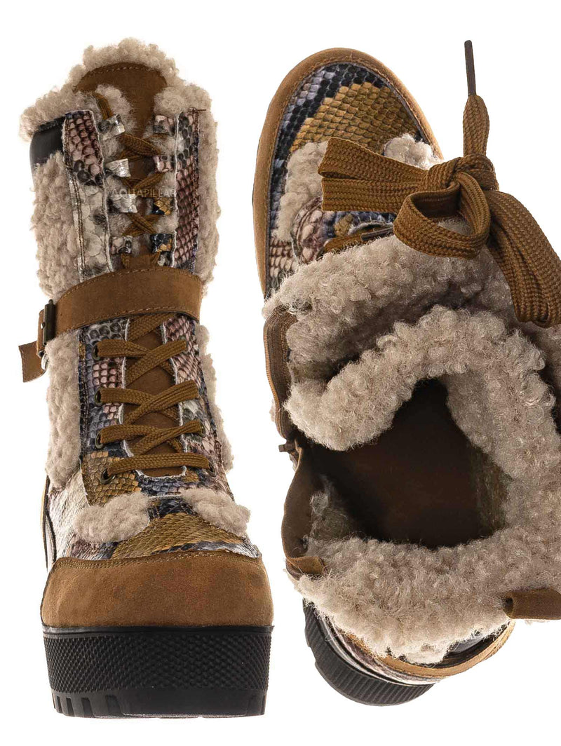Camel Snake / Powerful42 Faux Fur Lined Multi Colored Combat Boots
