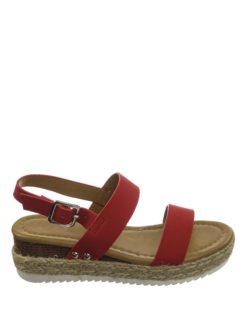 Red Punk / Sensational2K Red Punk Children Espadrille Flatform Sandal - Girl Kids Open Toe Platforms