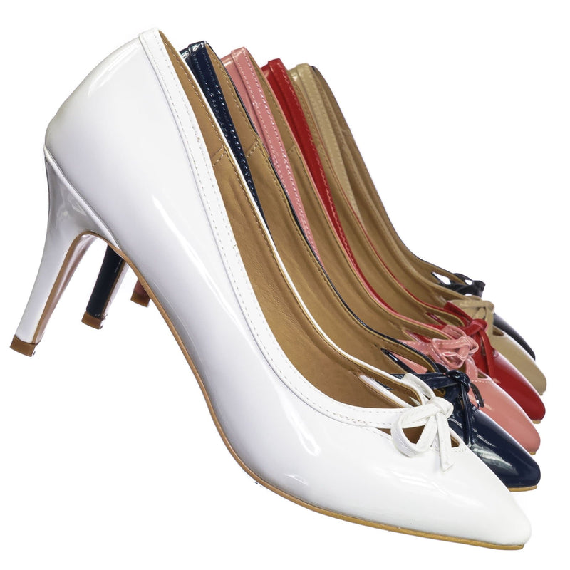 White Patent / Sanzi7 Classic Stiletto High Heel Dress Pump - Womens Cut Out Pointed Toe Shoe