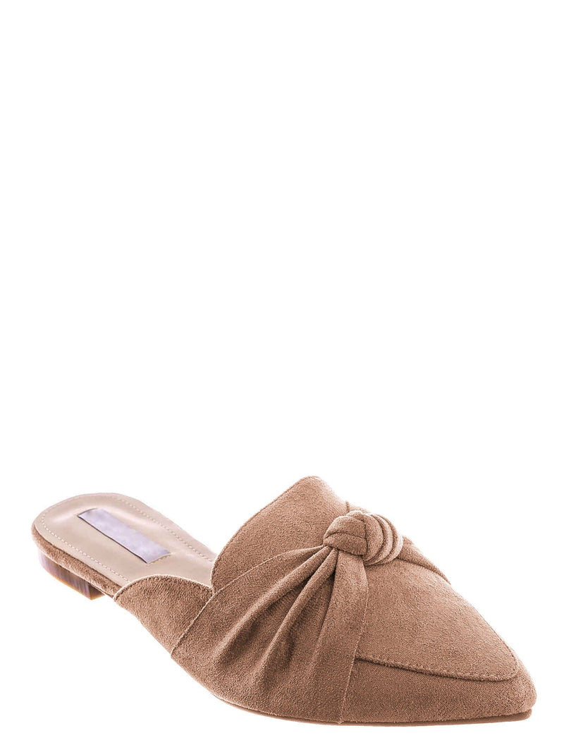Pink / Mules11 Knotted Pointed Toe Slides - Women's Slide In Close Toe Slipper