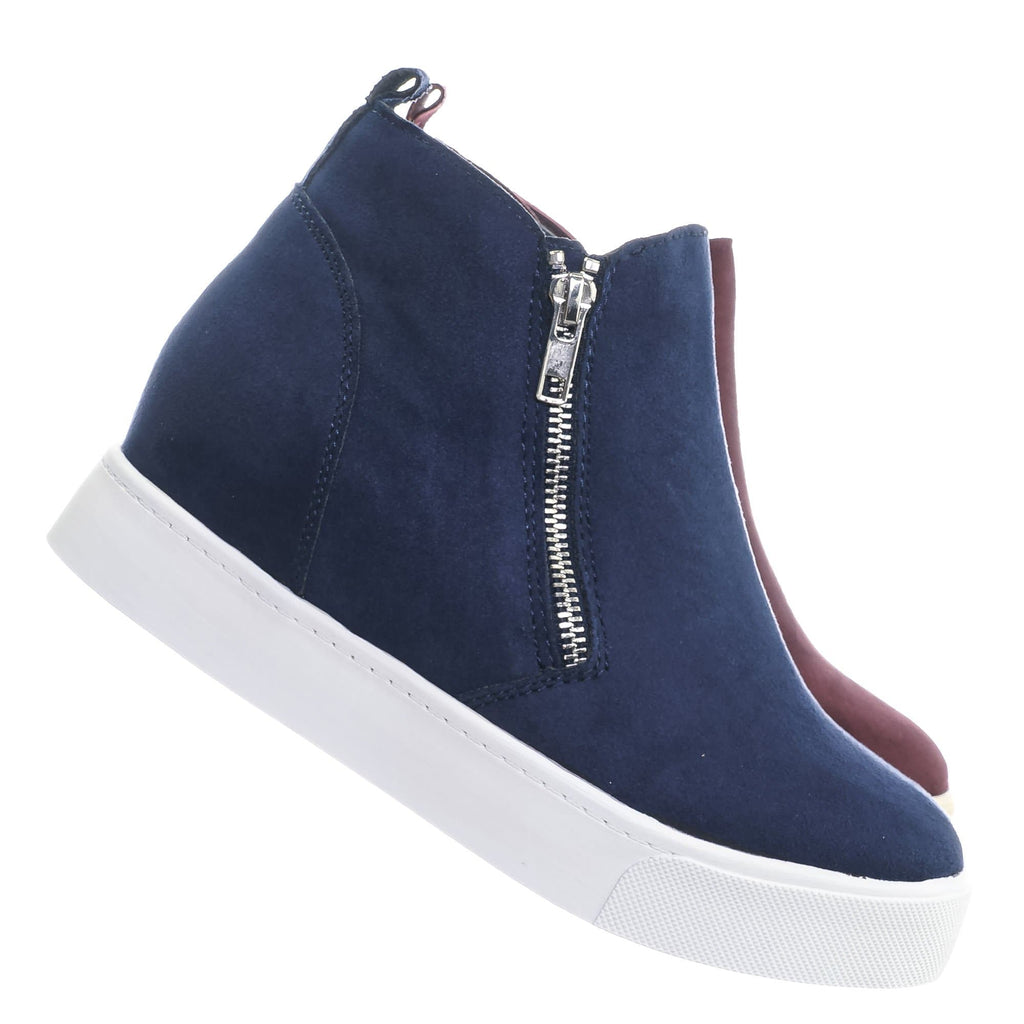 Navy Blue / Taylor High Top Hidden Wedge Sneaker  - Women Zipper Laceless Round Toe Shoe