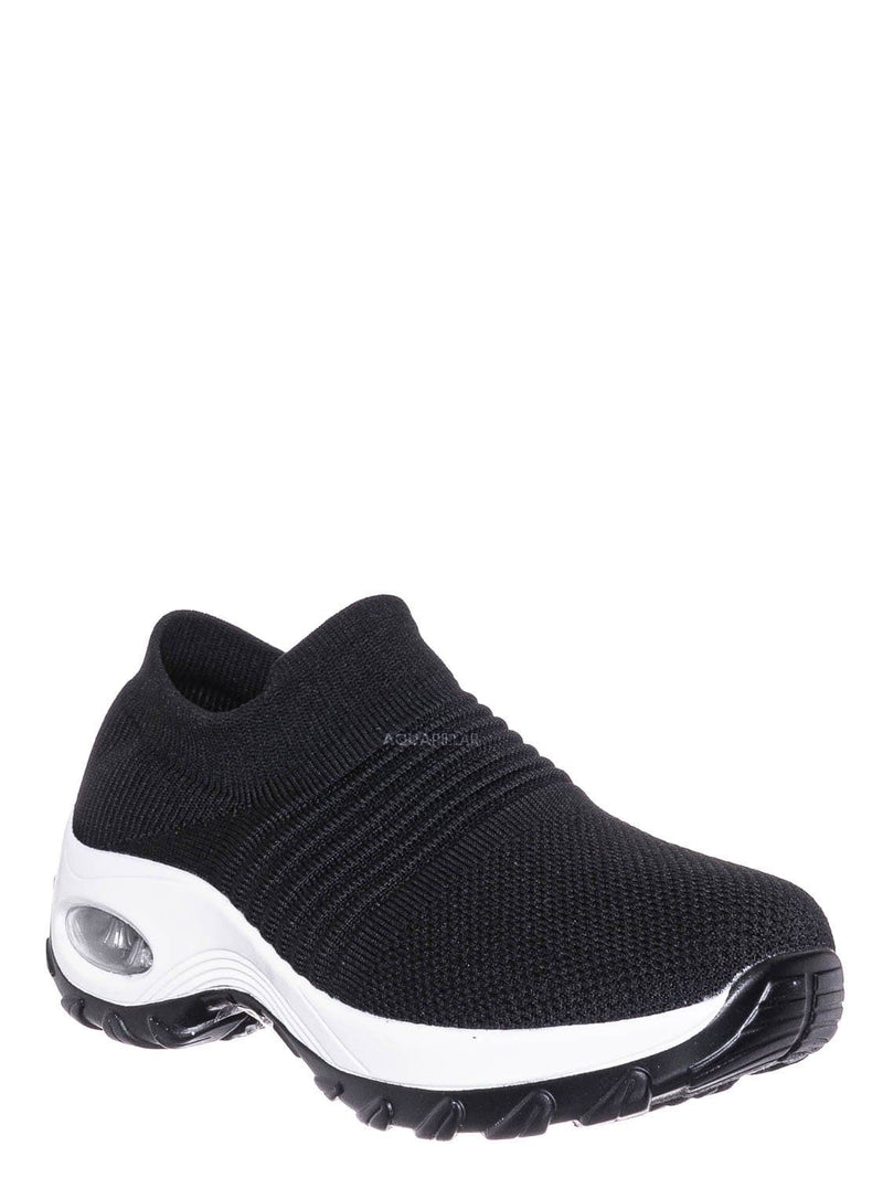 black / white / Impact15 Slip On Sock Sneaker - Retro Knitted Cushioned Stretch Knit Snockers
