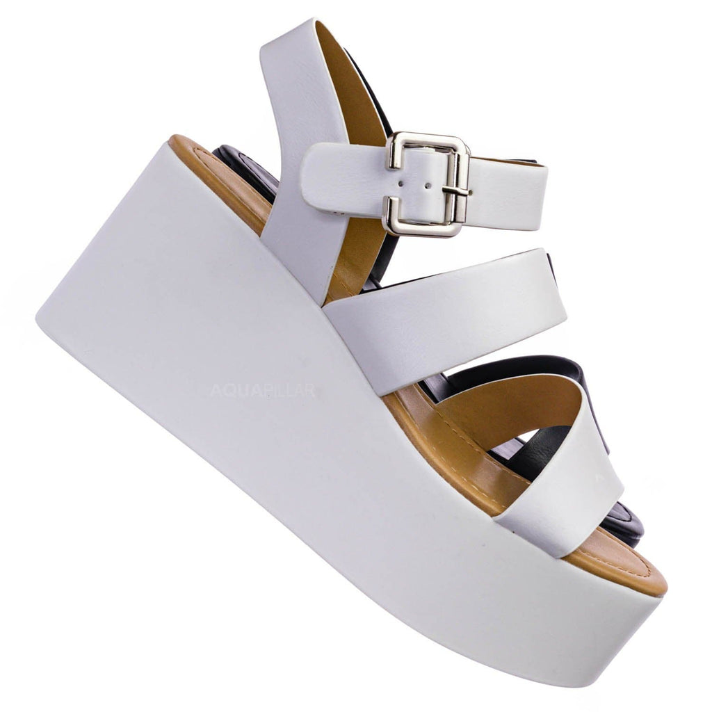 Oversea Asymmetric Strappy Flatform Shoe - Women Cage Gladiator Platform Sandals