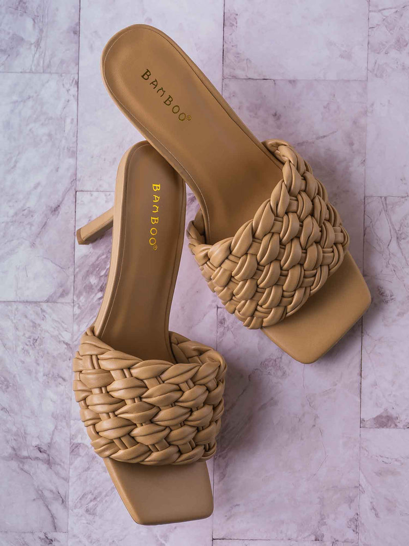 Zeal08 High Heel Puffy Woven Mule - Women Stiletto Pillow Weave Sandal