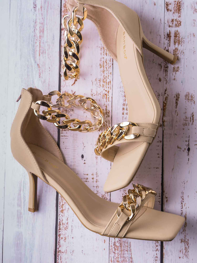 Zeal09 Two Piece Chain & Lucite Strap Sandal - Women Transparent Heel Stiletto