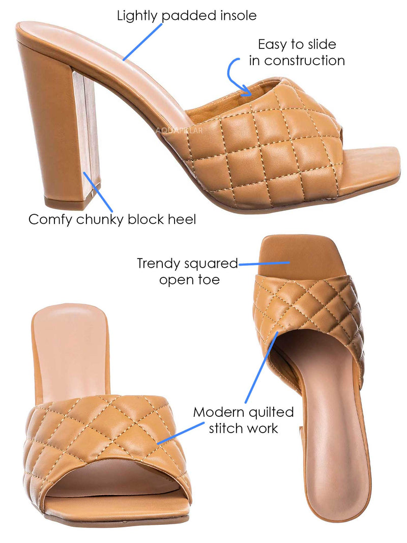 Camel Brown / Pita1 Quilted Block Heel Mule - Women's Slide In Open Square Toe Shoes