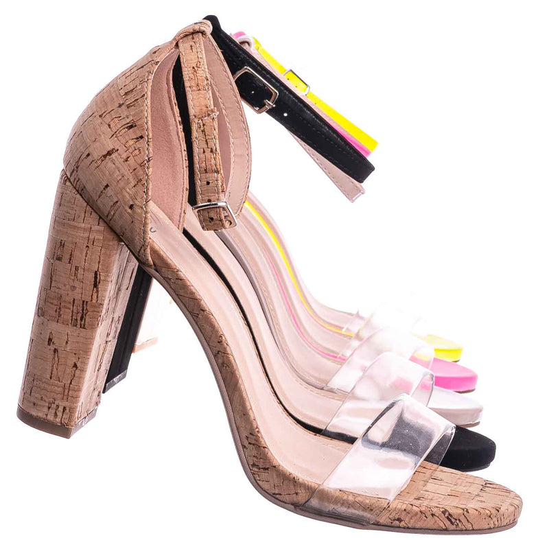 Share Block Heel Lucite Sandal - Women Chunky Open Toe w Transparent Strap