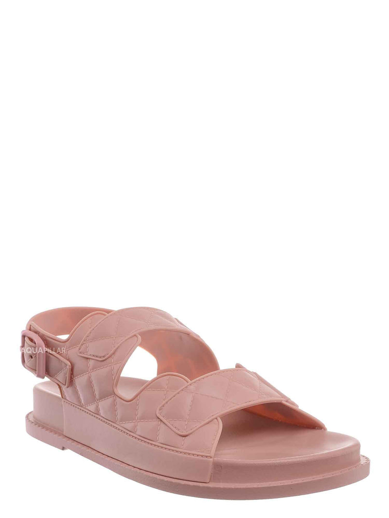 Blush Pink / Peach02 Molded Footbed Quilted Sandal - Womens Comfort Foam Jelly Padded Shoes