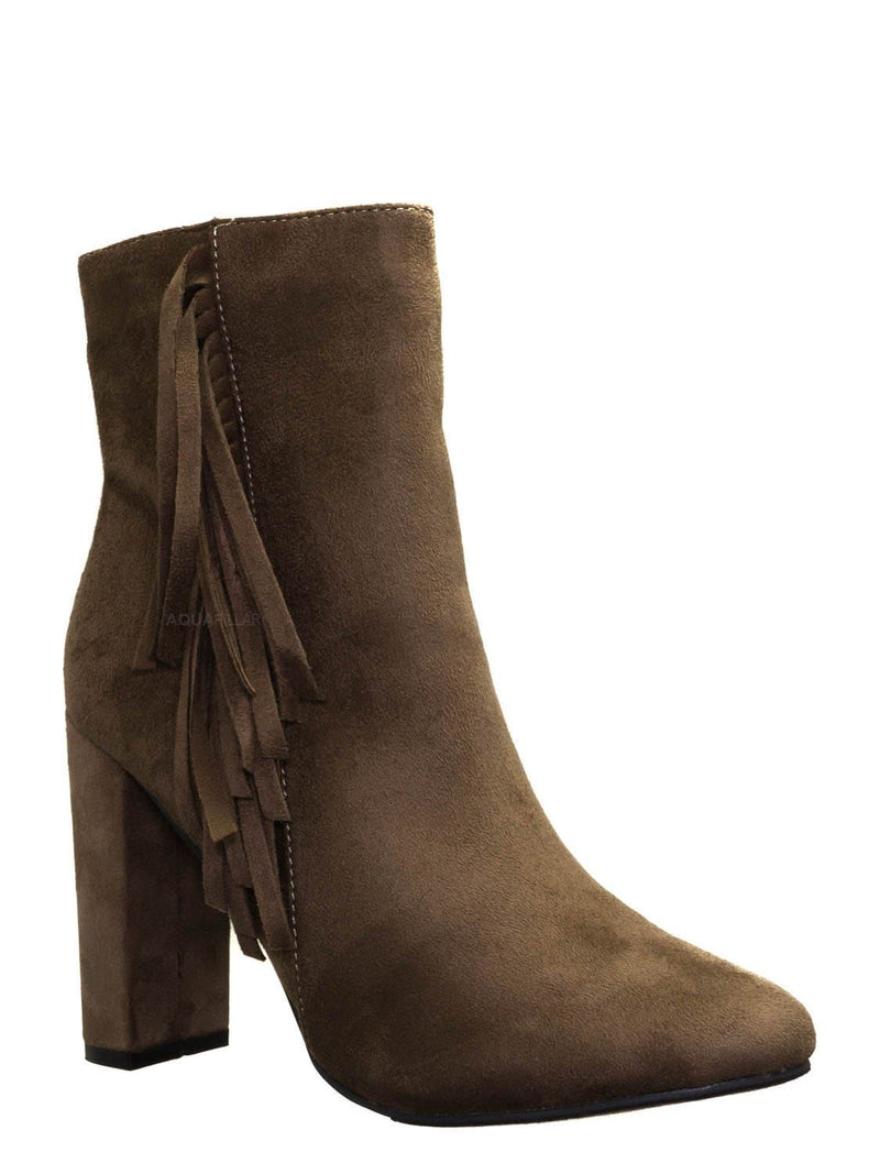 Taupe Gray / Lisa12 20s Retro Fringe Ankle Bootie - Flappy Tassel Block High Heel Dress Boots