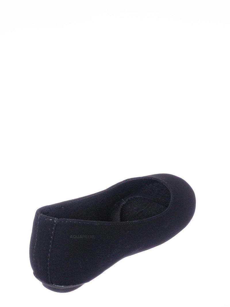 Black Nubuck / Kreme2 Girls Ballerina Slide Flats - Childrens Round Close Toe Slips