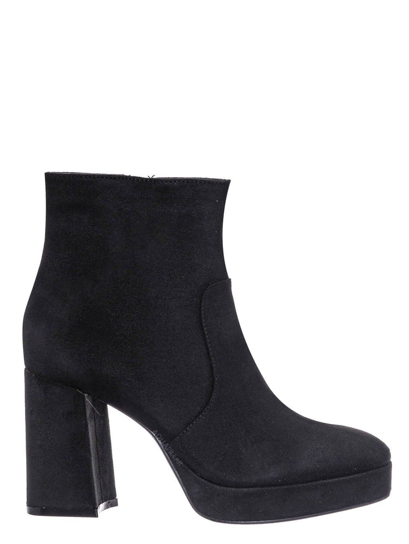 Black Faux Suede / Underlined01 Platform Block Heel Bootie - Women Croc & Suede Ankle Pump Boot