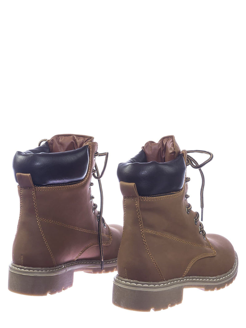 Tan Brown / Broadway3 Military Fashion Combat Boots - Lace Up Threaded Lug Sole Ankle Bootie