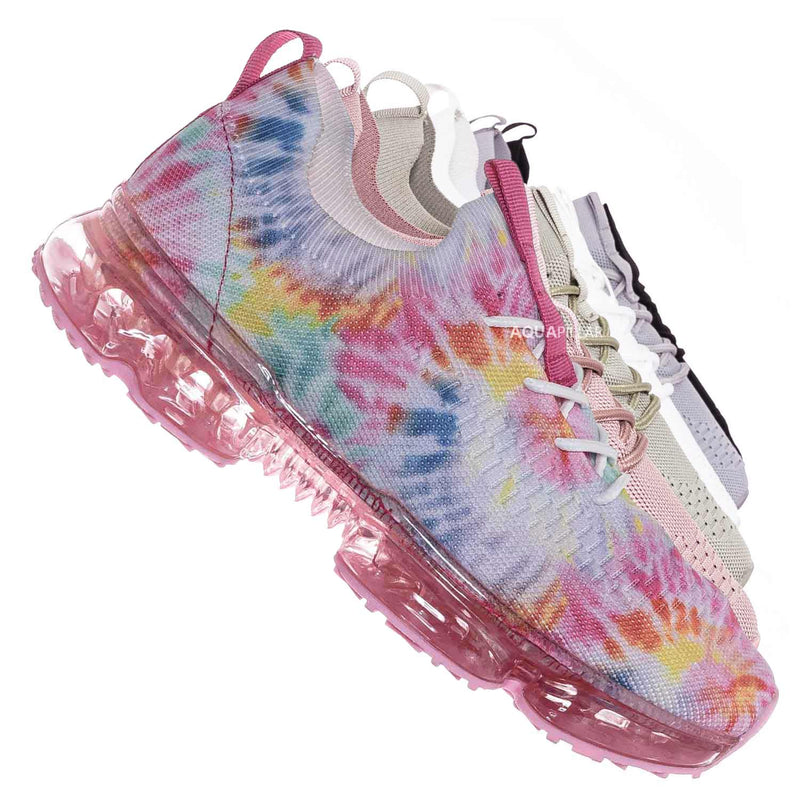 Pink Multi / Flow19 Stretch Elastic Mesh Sneaker - Festival Lace Up Rubber Air Bubble Cushion
