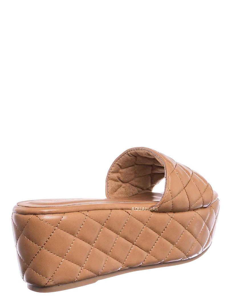 Tan Brown / Purchase23 Quilted Flatform Slipper Mule - Platform Diamond Stitch Slide Sandals