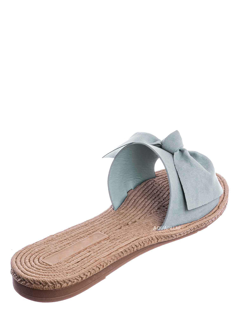 Baby Blue / Athena12 Espadrille Woven Knotted Bow Slides - Jute Rope Weaved Slip On Sandal