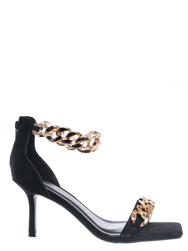 Black, / Zeal09 Two Piece Chain & Lucite Strap Sandal - Women Transparent Heel Stiletto