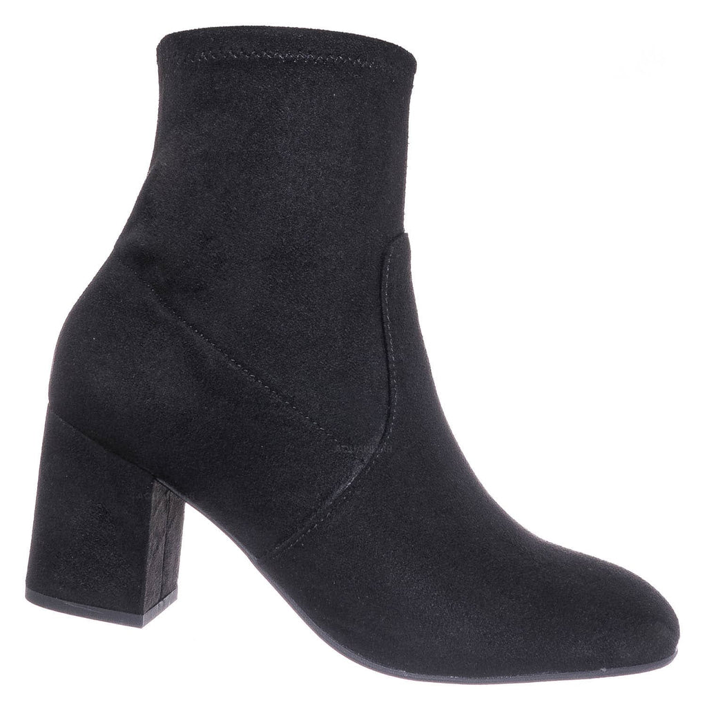 Black F Suede / Tonic Stretch Sock Ankle Bootie - Womens Chunky Block High Heel Dress Boots