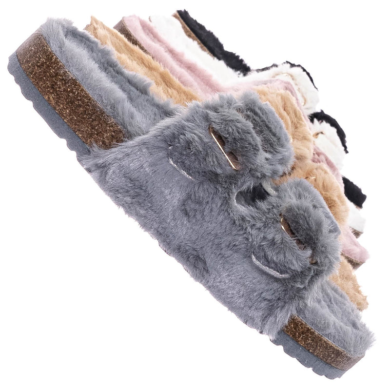 Defeat63 Faux Fur Molded Footbed Slipper - Furry Slide In Cork Slide Sandal