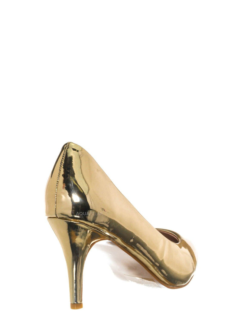 Gold / Sanzi2 Low Stiletto Heel Pumps - Slip On Dress Shoes Solid Or Animal Prints