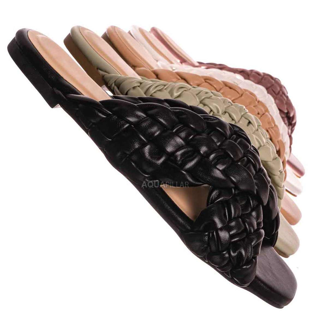 Black Pu / Kick61 Thick Braided Woven Slides - Womens Open Squared Toe Slip On Mule Slipper