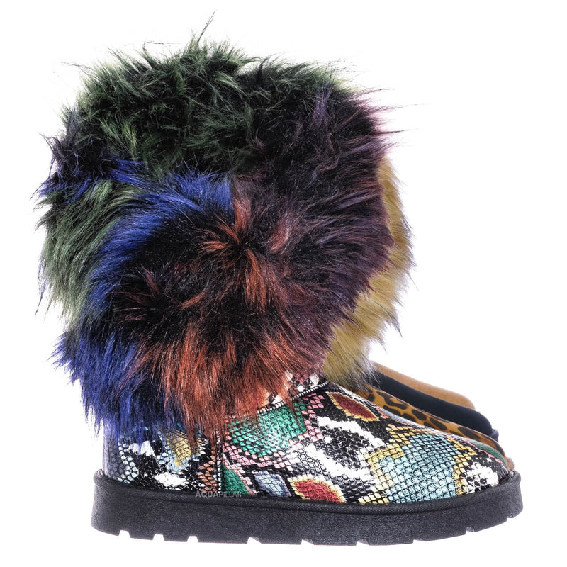 Multi Snake / Frozen01 Asymmetrical Faux Fur Mukluks - Womens Winter Cozy Boots