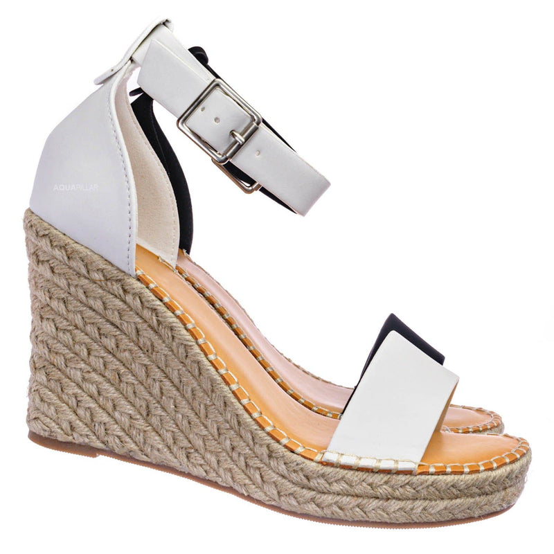 White Nubuck / Selma Two Tone Espadrille Wedge Sandals - Womens Ankle High Heel Open Toe Shoes