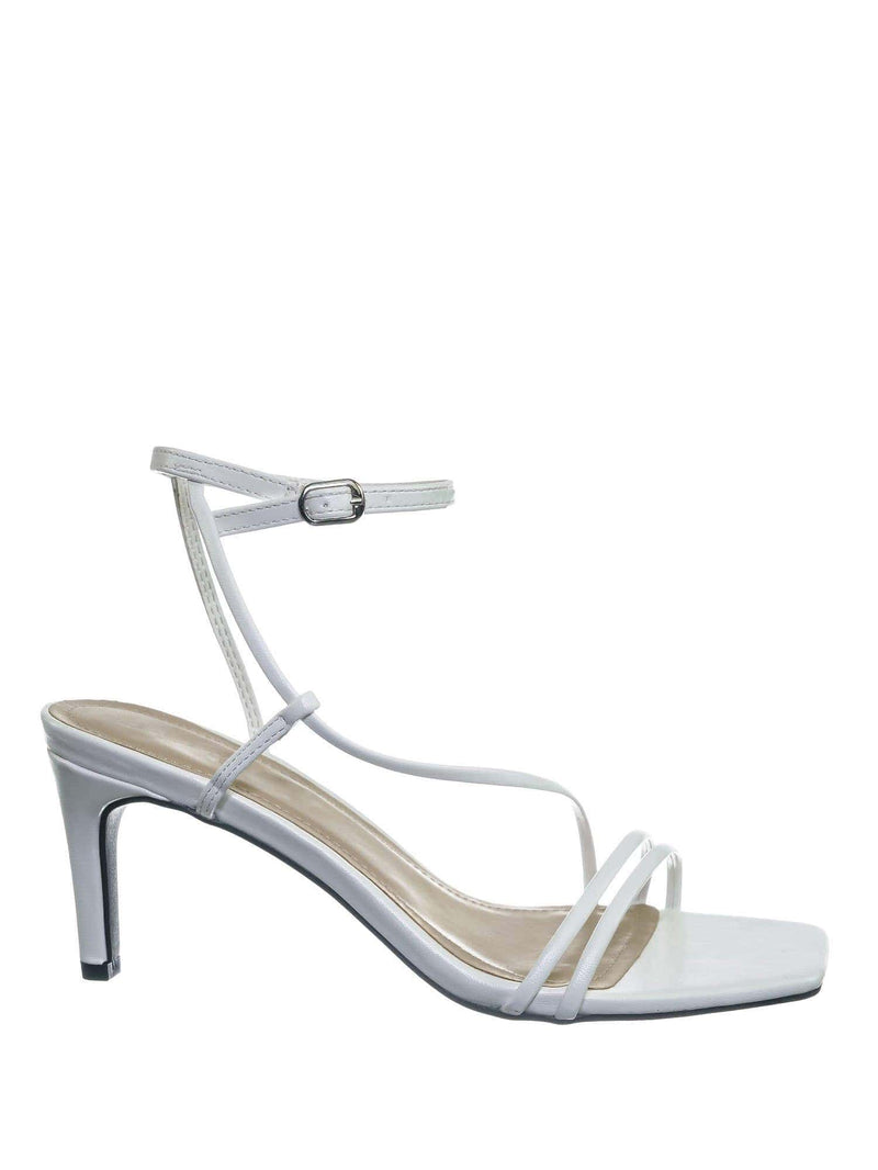 White Pu / Always01 White Pu Square Open Toe Thin Strap Sandal - Women Spaghetti Strap Shoes