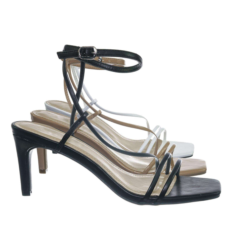 Black Pu / Always01 Black Pu Square Open Toe Thin Strap Sandal - Women Spaghetti Strap Shoes