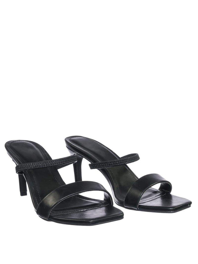 Black pu / Always03 BlkKPu Clear Strap Square Open Toe Sandal - Women Mid Heel Slide In Slippers