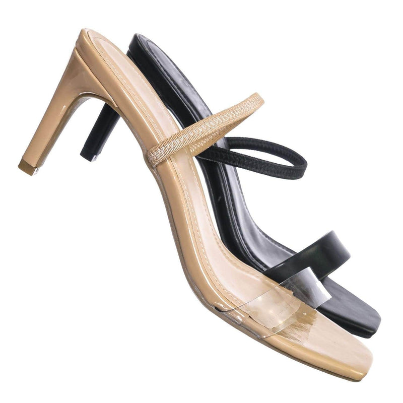 Nude Clear / Always03 NudPt Clear Strap Square Open Toe Sandal - Women Mid Heel Slide In Slippers