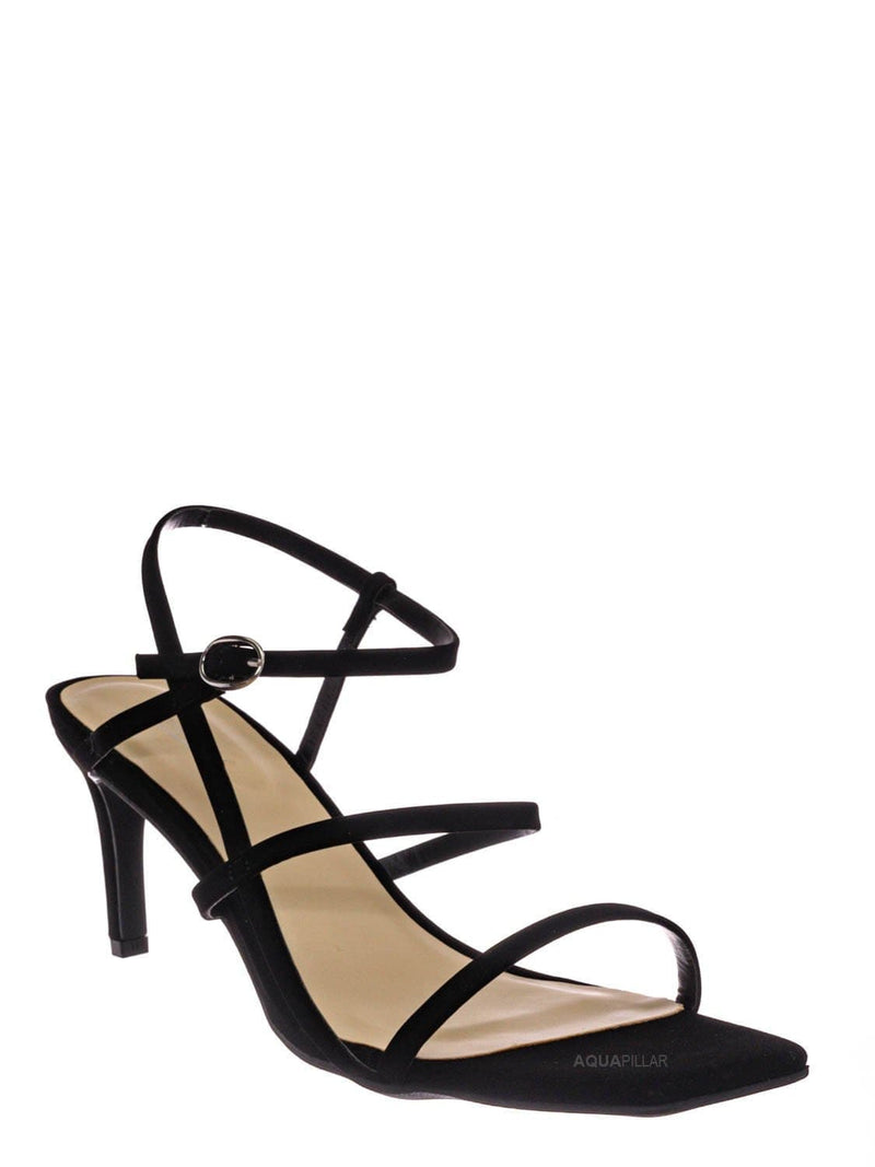 Black Nubuck / Always17 Thin Strap Cage Sandal - Women Stiletto Heel Open Square Toe Shoes
