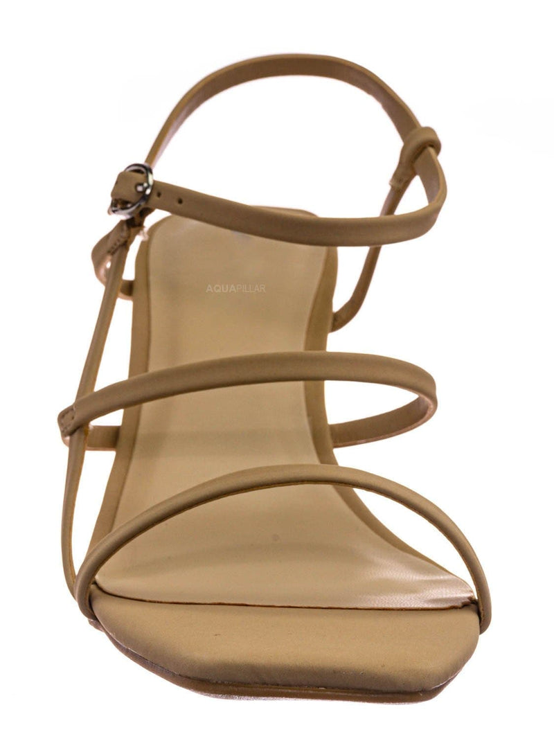 Nude Beige / Always17 Thin Strap Cage Sandal - Women Stiletto Heel Open Square Toe Shoes