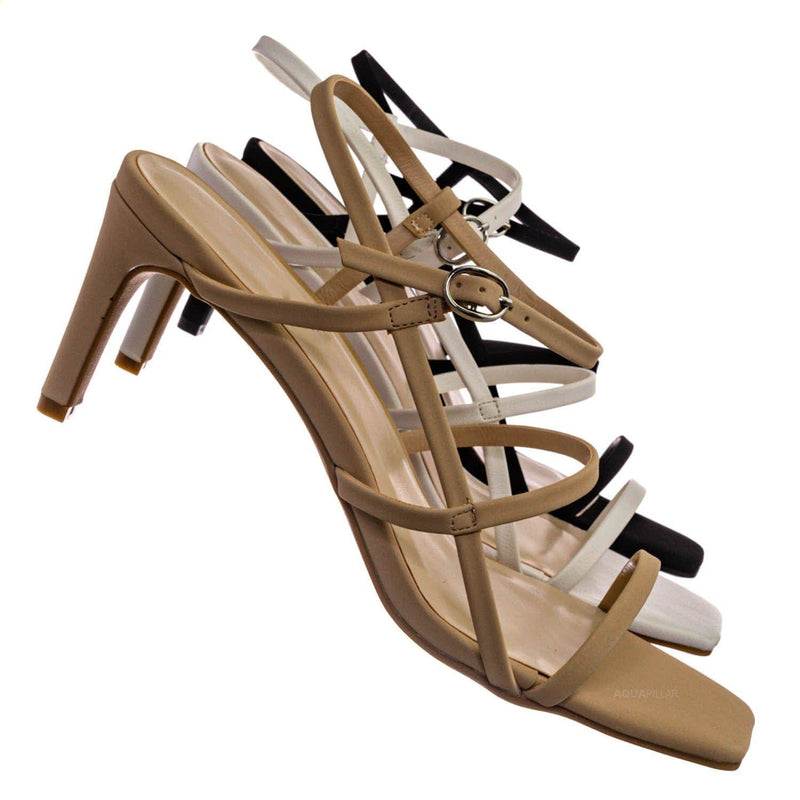 Always17 Thin Strap Cage Sandal - Women Stiletto Heel Open Square Toe Shoes