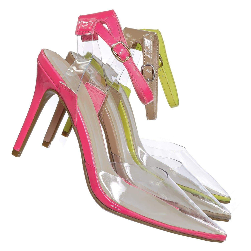 Neon Pink / Carnation36 NPnkPt Clear Lucite Pointed Toe Pump - Womens Ankle Strap Cinderella Shoe