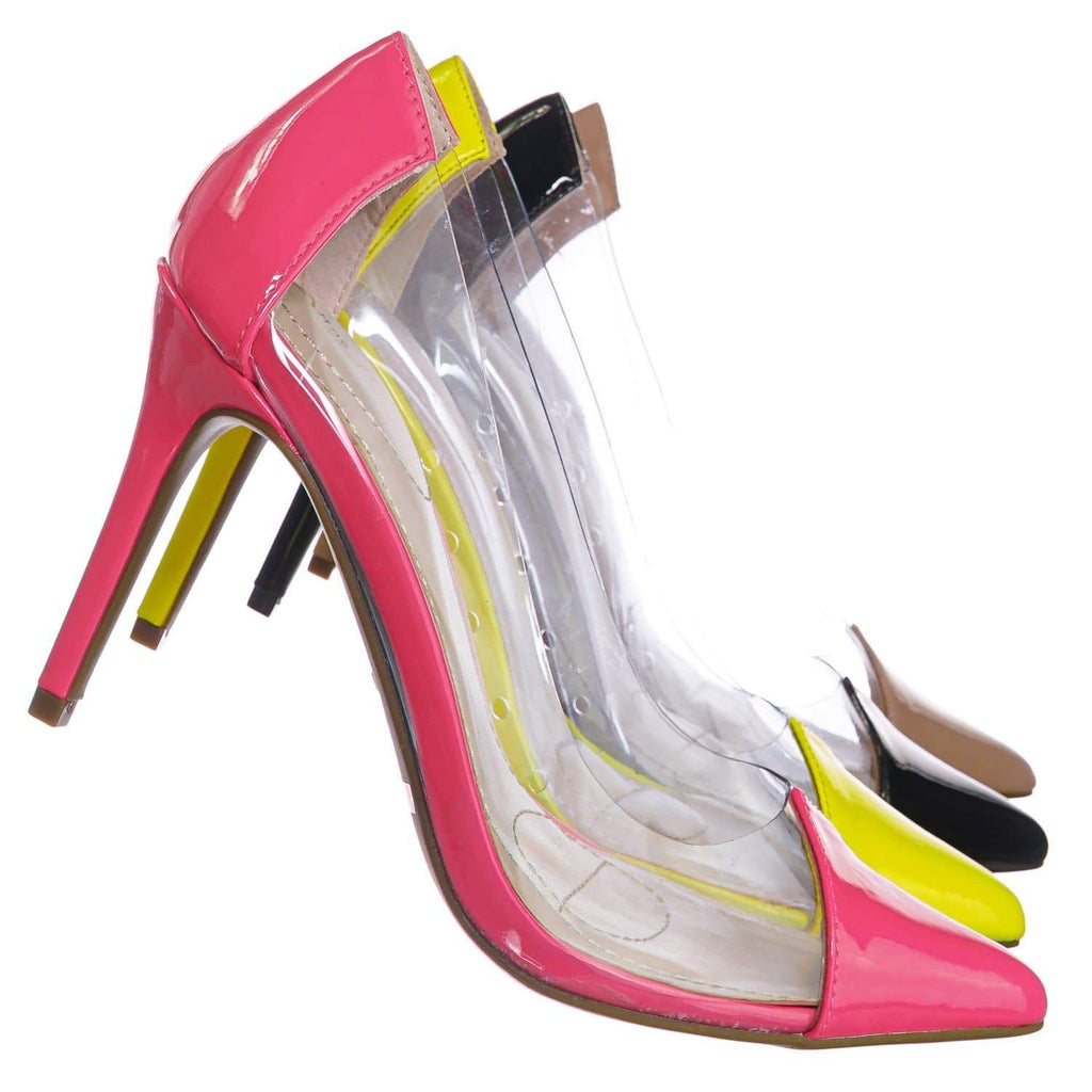 Neon Pink / Carnation37 NPnkPt Lucite Clear Pointed Toe Pump - Women Neon Transparent Dress Heels