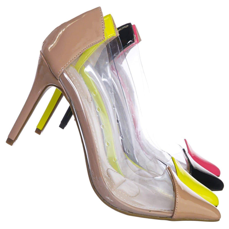 Nude Beige / Carnation37 NudPt Lucite Clear Pointed Toe Pump - Women Neon Transparent Dress Heels