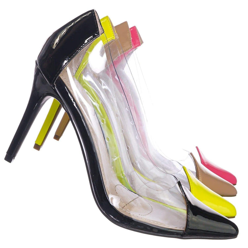 Black Patent / Carnation37 BlkPt Lucite Clear Pointed Toe Pump - Women Neon Transparent Dress Heels