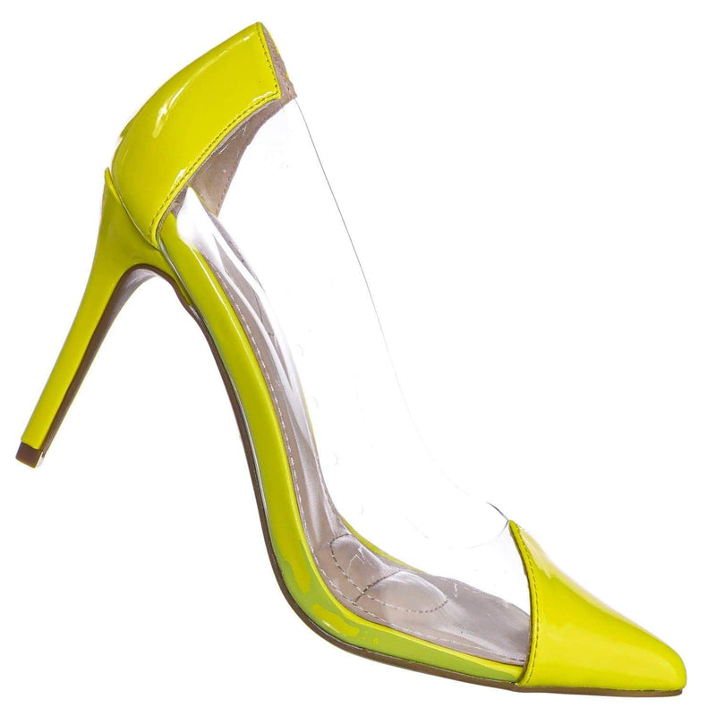 Neon Yellow / Carnation37 NYlwPt Lucite Clear Pointed Toe Pump - Women Neon Transparent Dress Heels