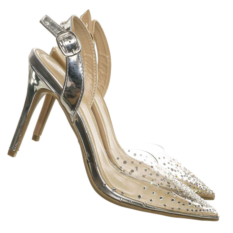 Silver Metallic / Carnation46 Silver Metallic Transparent Lucite Sling Back Pump - Womens Clear Open Toe Stilettos