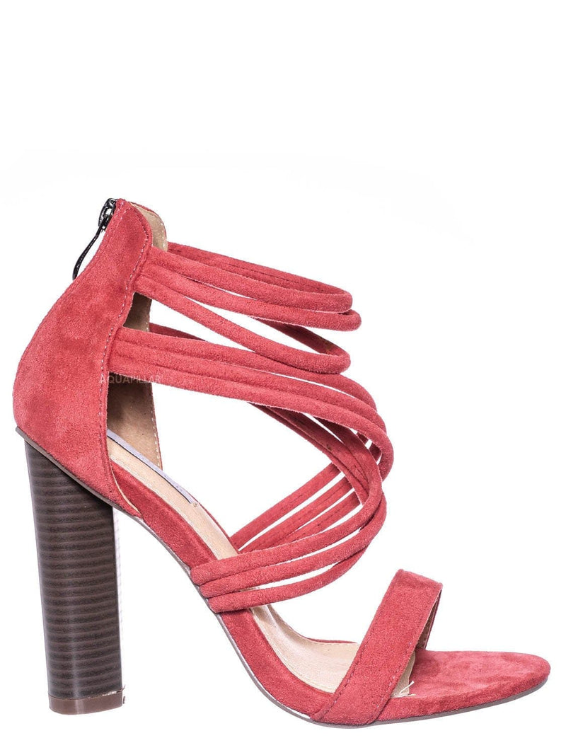 Rose Pink / Connie16 High Stack Block Heel Strappy Sandal - Womens Open Toe Dress Shoes